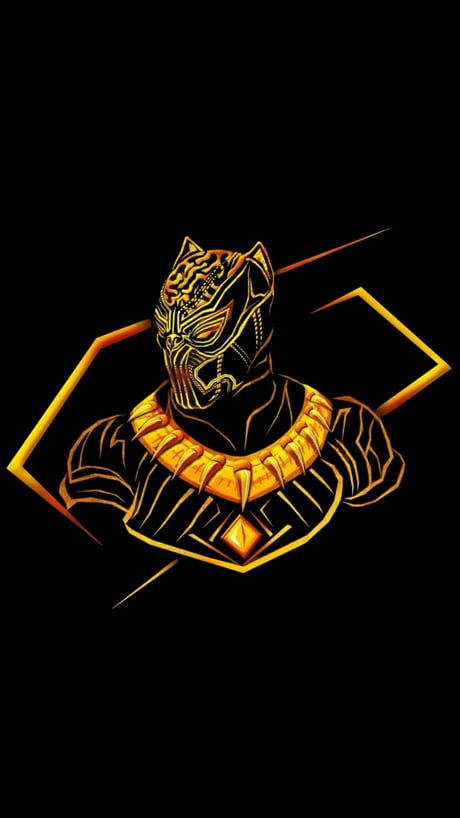 HD Gold-traced Black Panther wallpaper with black overalls so it doesn't hurt the eyes.