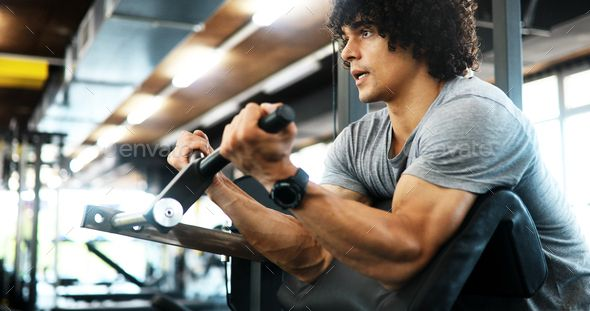 Sport, fitness, bodybuilding, lifestyle and people concept - man exercising in gym by nd3000. Sport, fitness, bodybuilding, lifestyle and people concept ¨C man exercising work out in gym #AD #lifestyle, #people, #bodybuilding, #Sport