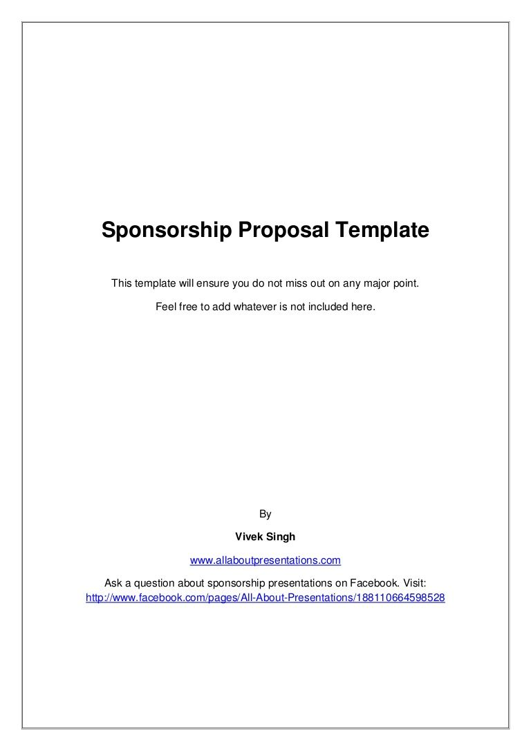 sponsorship marketing plan template - sponsorship proposal template by vivek singh via