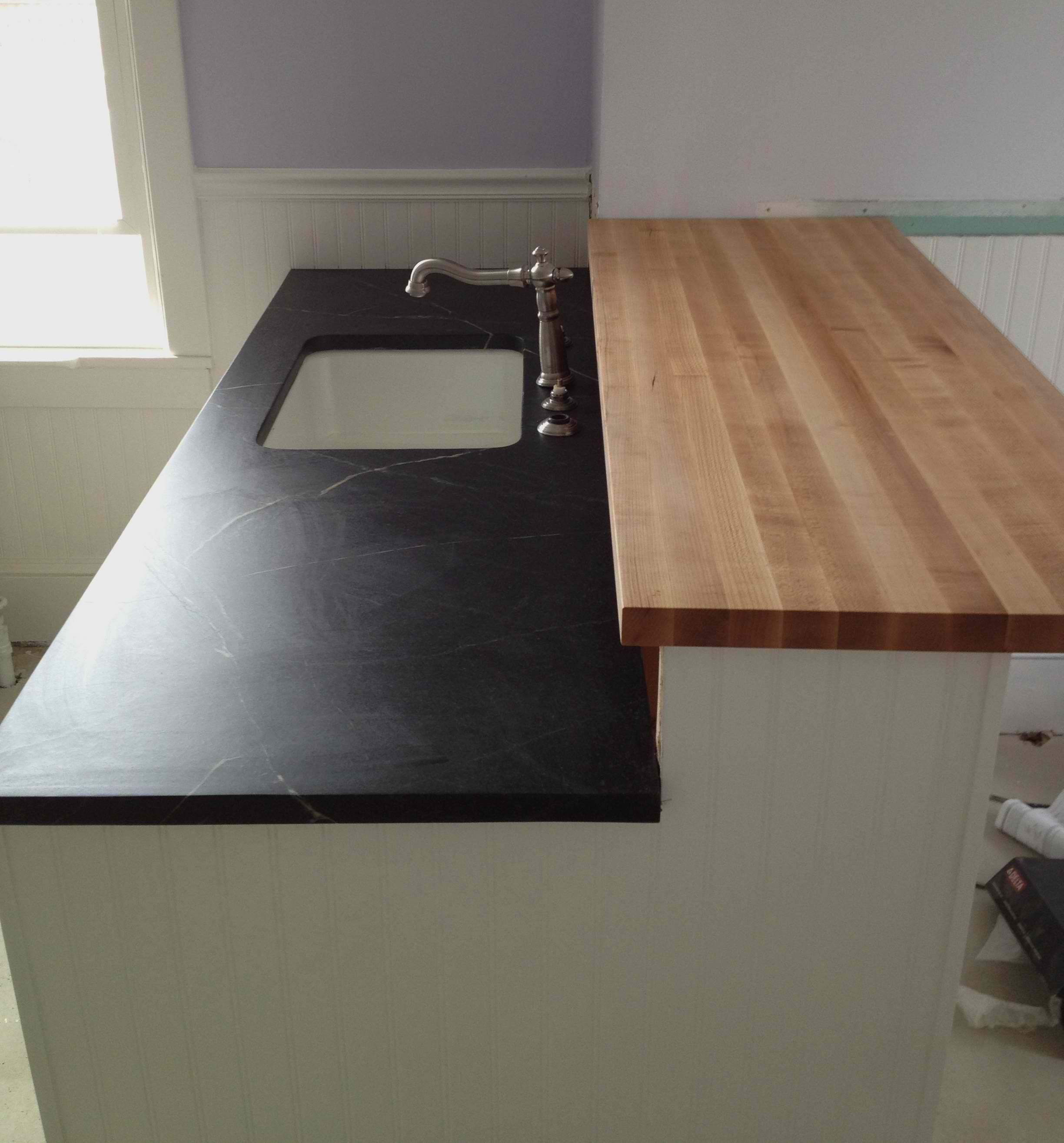 Butcher Block Bar Top Part - 43: #Soapstone Counter Around The Sink And A Butcher Block Bar Above! Love It!