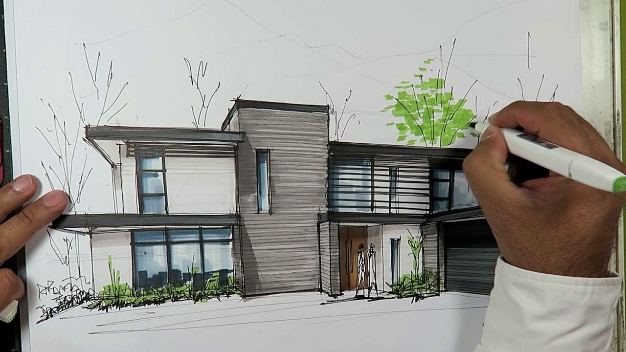 How To Draw A House With Markers Youtube Architecture Drawing House Drawing Markers Drawing Architecture