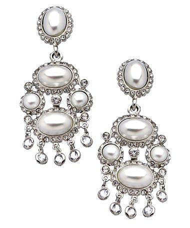 Kenneth Jay Lane Silver Cabochon Crystal Chandelier Clip-On Earrings #maxandchloe