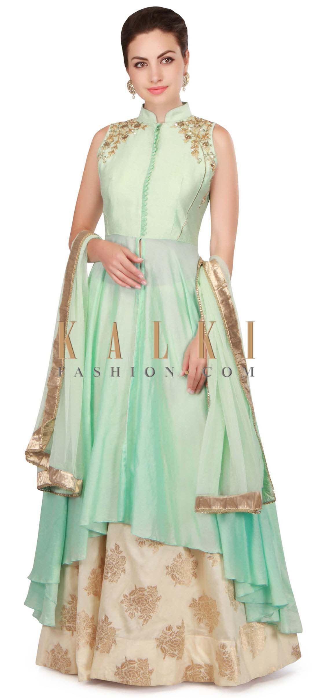 506cb5c027b9 Mint blue long jacket blouse with cream lehenga only on Kalki ...