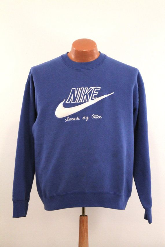 9fb19ccddf Vintage Nike Sweatshirt   Men s Large L - 80s Swoosh By Nike Blue ...