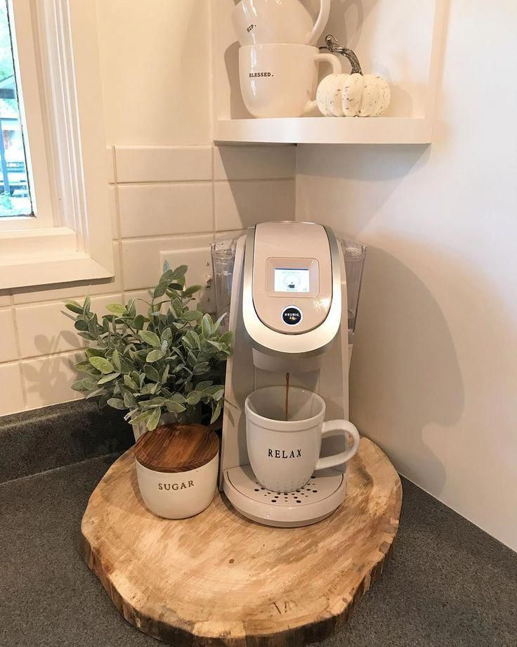 coffee bar ideas kitchen counter coffee bar ideas for small spaces #keurig #cof - Coffee Maker - Ideas of Coffee Maker #CoffeeMaker -  coffee bar ideas kitchen counter coffee bar ideas for small spaces #keurig #coffeebarideas #smallspaces #raedunn #homedecordecoratingideas