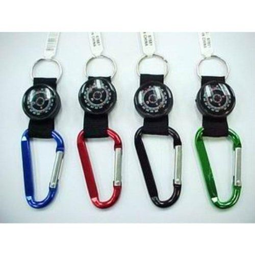 Carabiner with Colored Compass & Strap Key Chain, Assorted Colors - 2 pack
