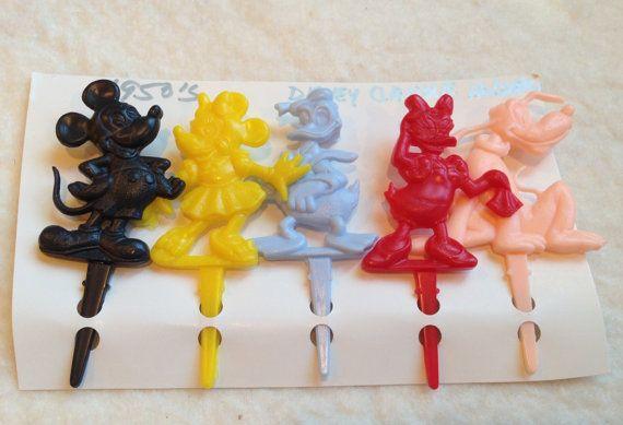Set of 5 Vintage Disney Party Cake Candle Holders | Vintage Birthday ...