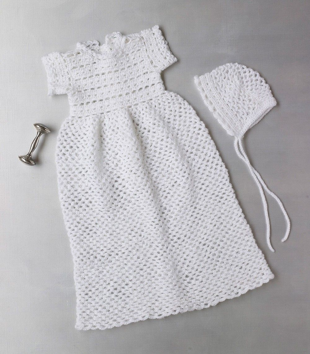 Crocheted Christening Gown And Bonnet Pattern Lion Brand Yarn 8