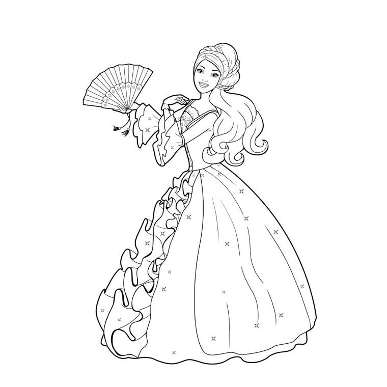 Coloriage Princesse De Bal.Coloriage Barbie Au Bal Des 12 Princesses Coloriage Coloriage