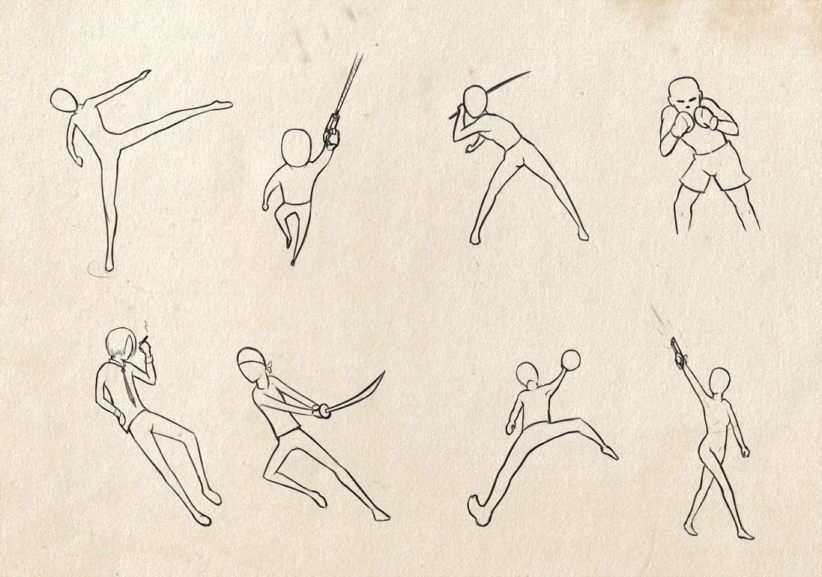 Sword Fighting Poses Anime Fighting Poses Art Male Sketch