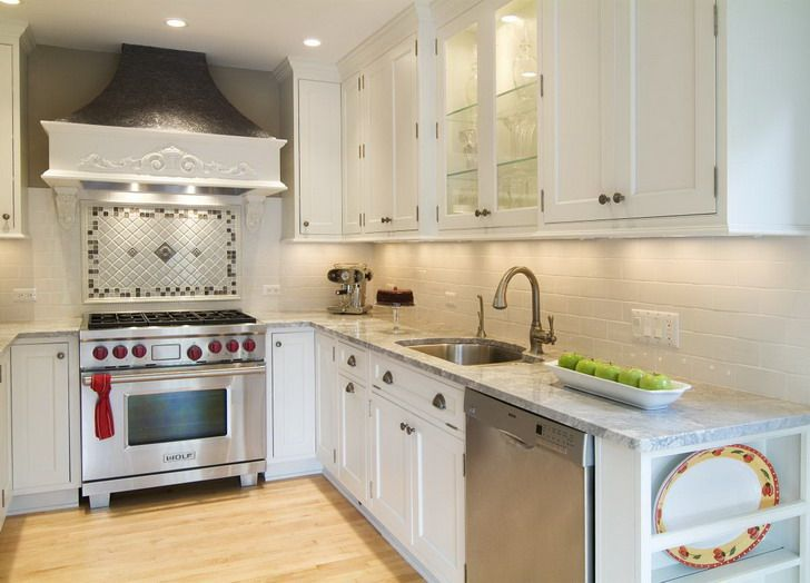 Small Kitchen Layout White Kitchen Cabinets Cream Backsplash