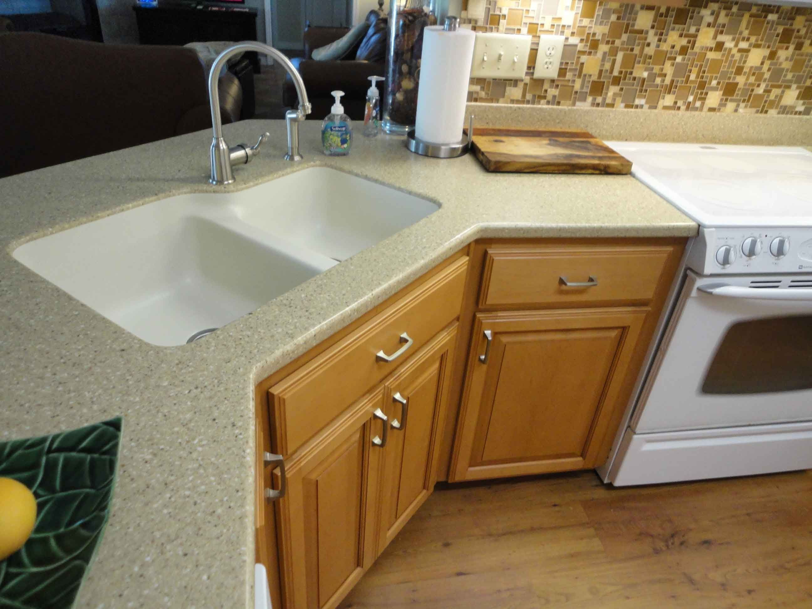 Solid Surface Kitchen Countertops With Sink Corner sink