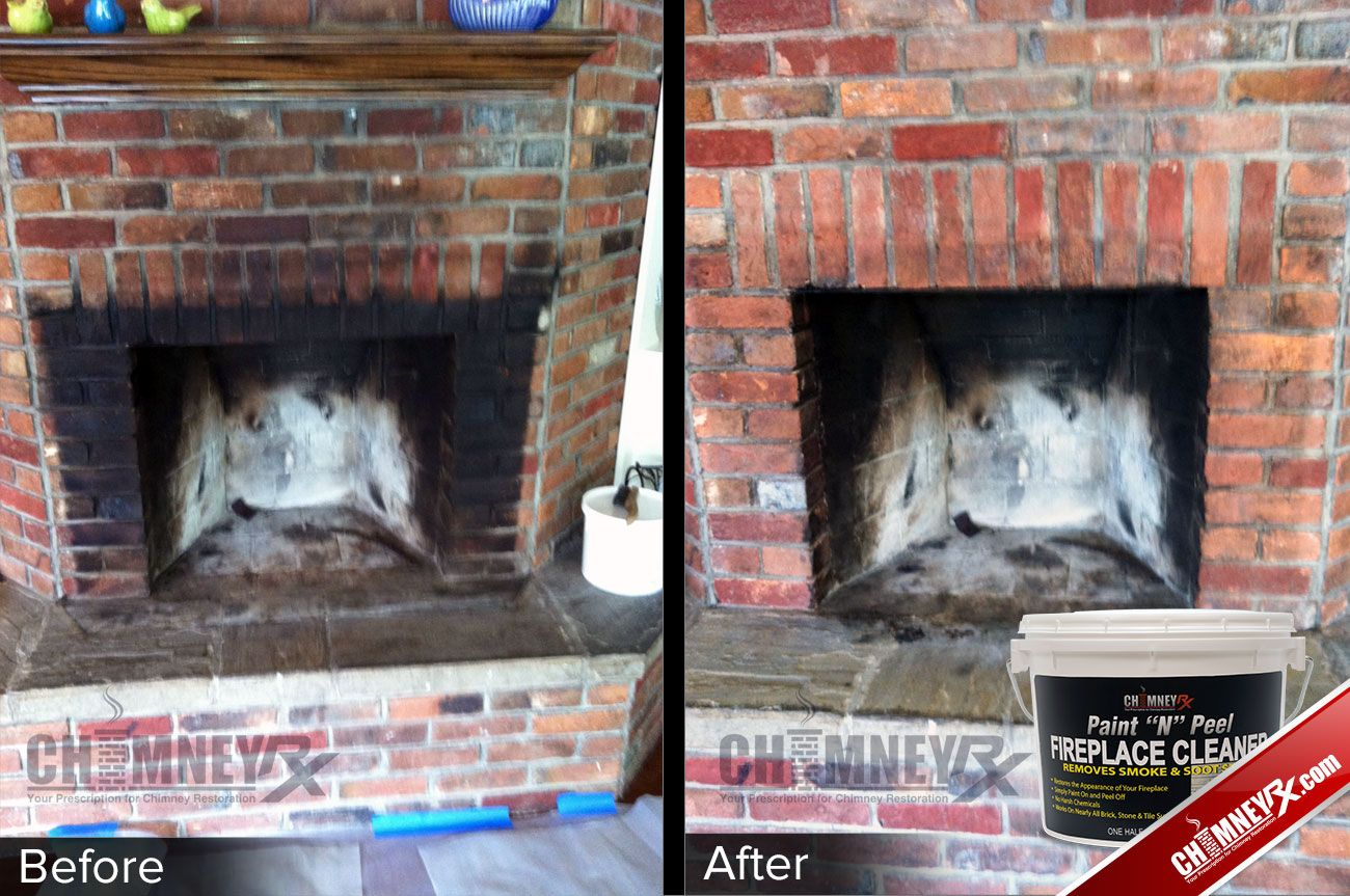 Smoke Stains On A Fireplace Before And After Being Cleaned With Paint N Peel Fireplace Cleaner Cleaning Brick Fireplaces Brick Fireplace Fireplace