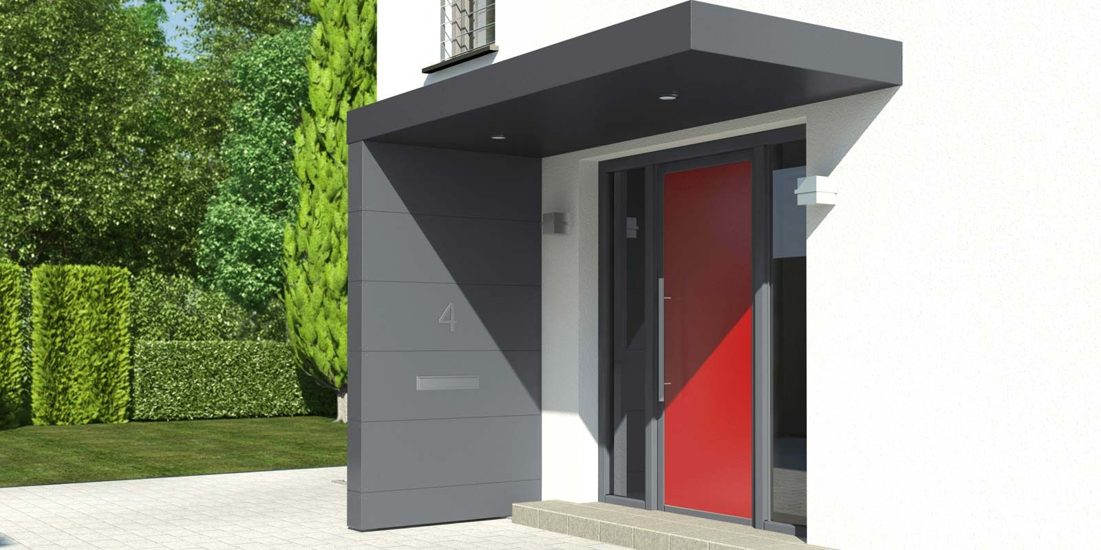 Haustürüberdachung Walmdach Contemporary Entry Way With Red Front Door And Grey Awning