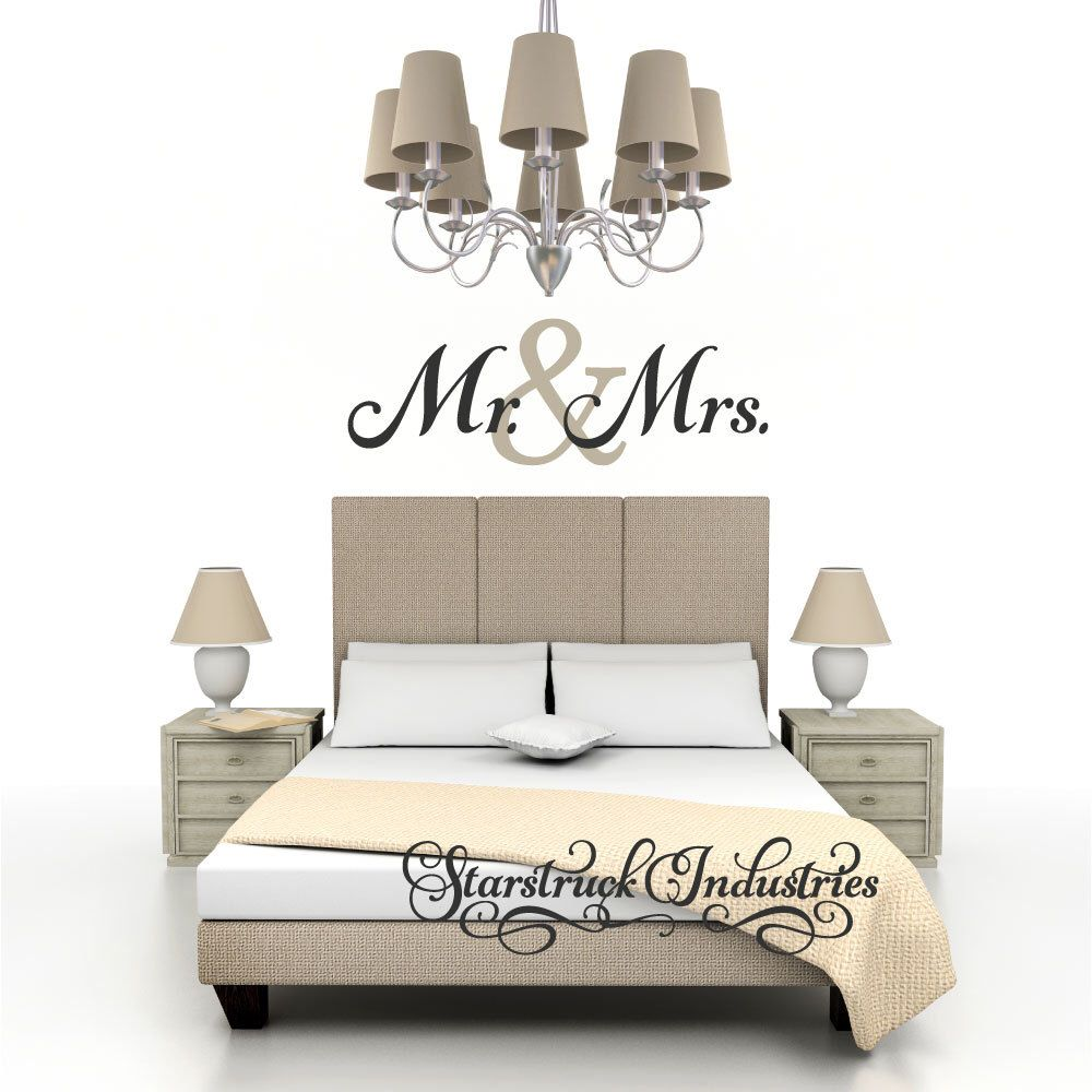 Mr u mrs wall decal bedroom wall quote perfect for above bed