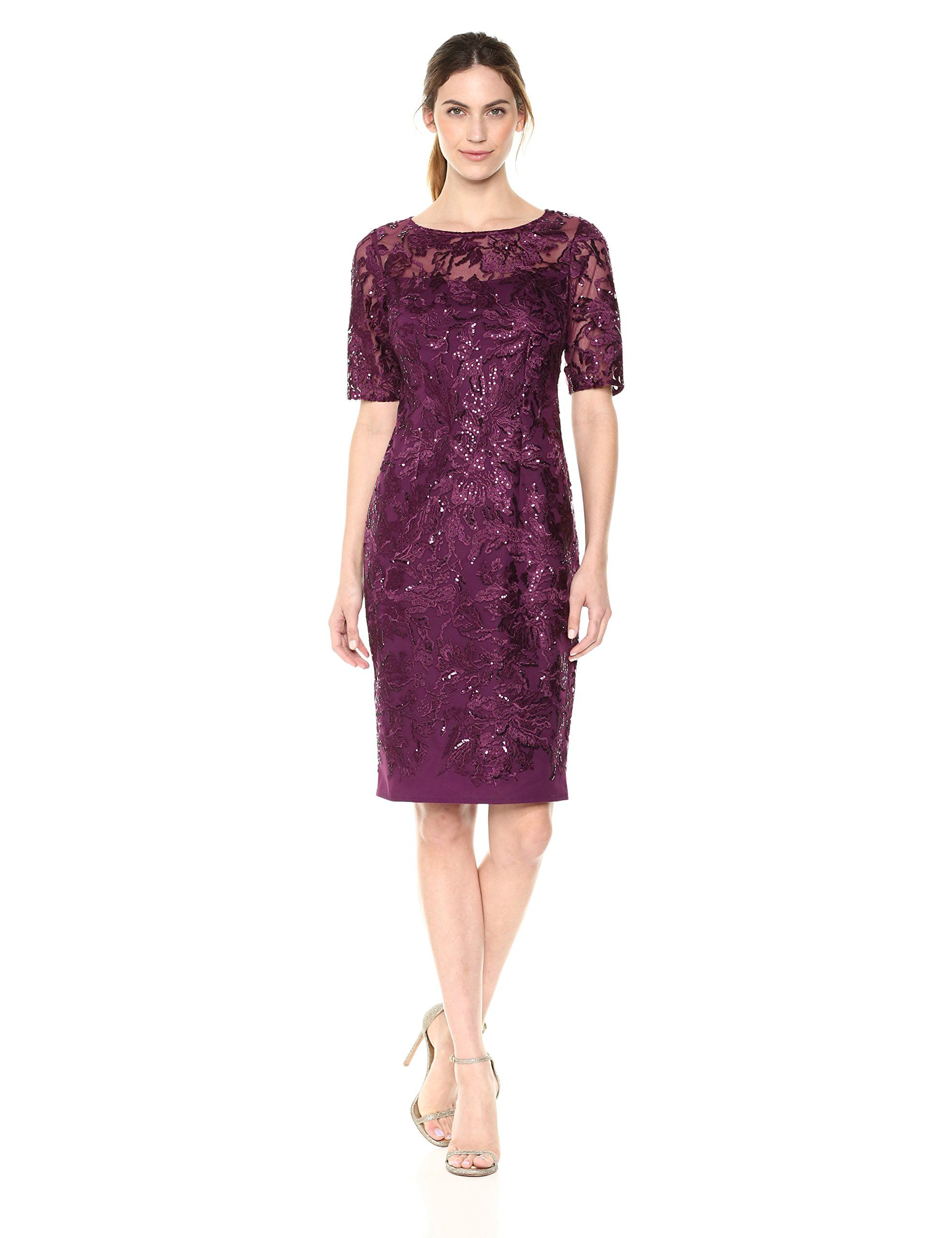 19573855aa Alex Evenings Womens Short Embroidered Shift Dress Plum 14 -- Click image  for more details. (This is an affiliate link and I receive a commission for  the ...