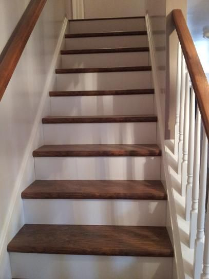 Cap A Tread White 47 In Long X 1 2 In Deep X 7 3 8 In Height Laminate Riser To Be Used With Cap A Tread 017071553 The Home Depot Staircase Makeover Stair Renovation Laminate Stairs