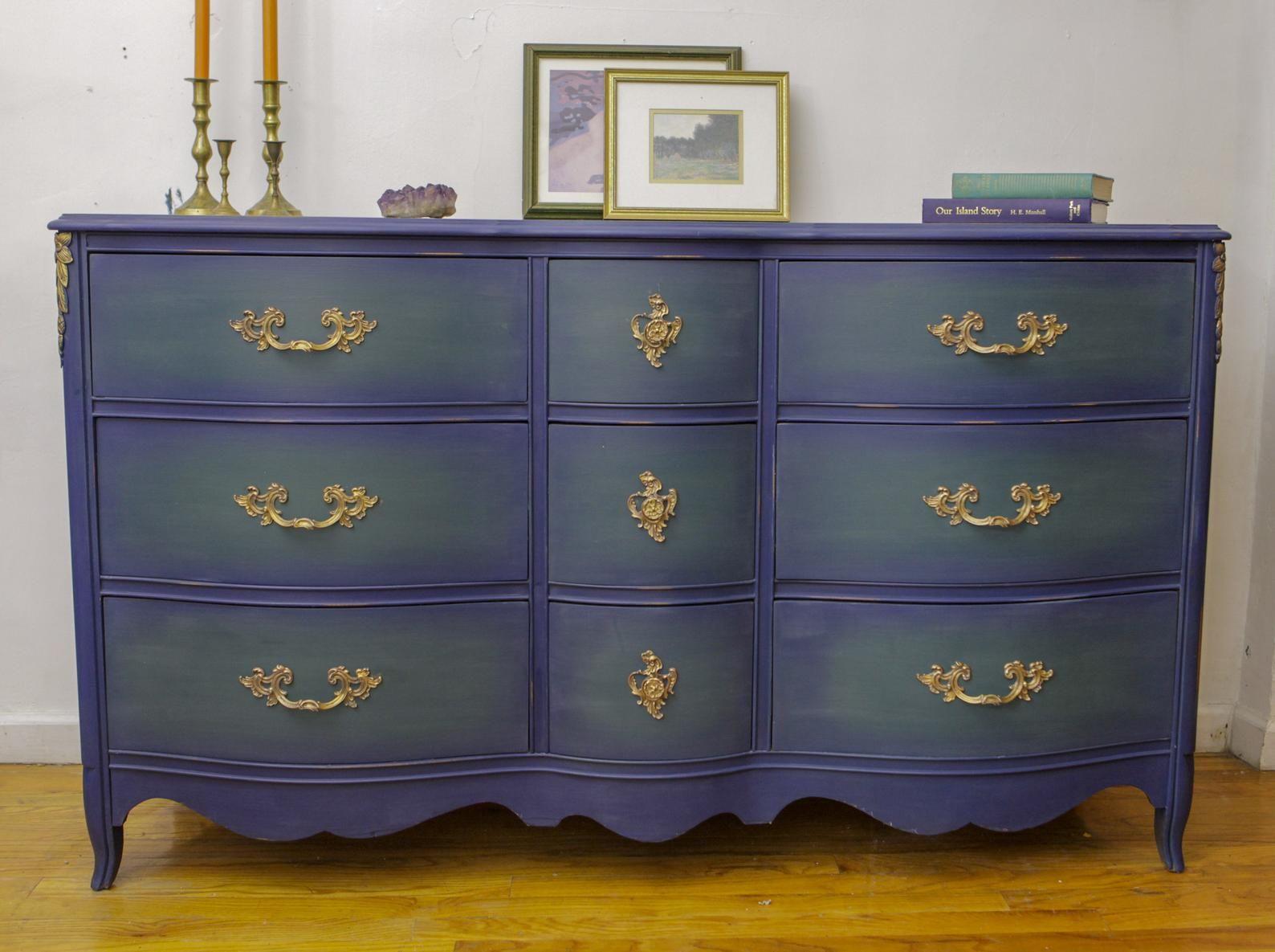 SOLD French Provincial Dresser Blue Green antique dresser ...