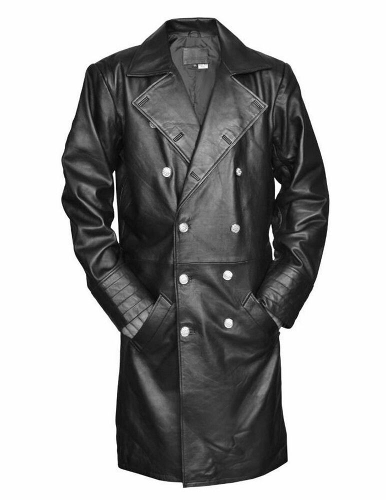 German General Major Men/'s New Military Style Real Leather Trench Long Coat