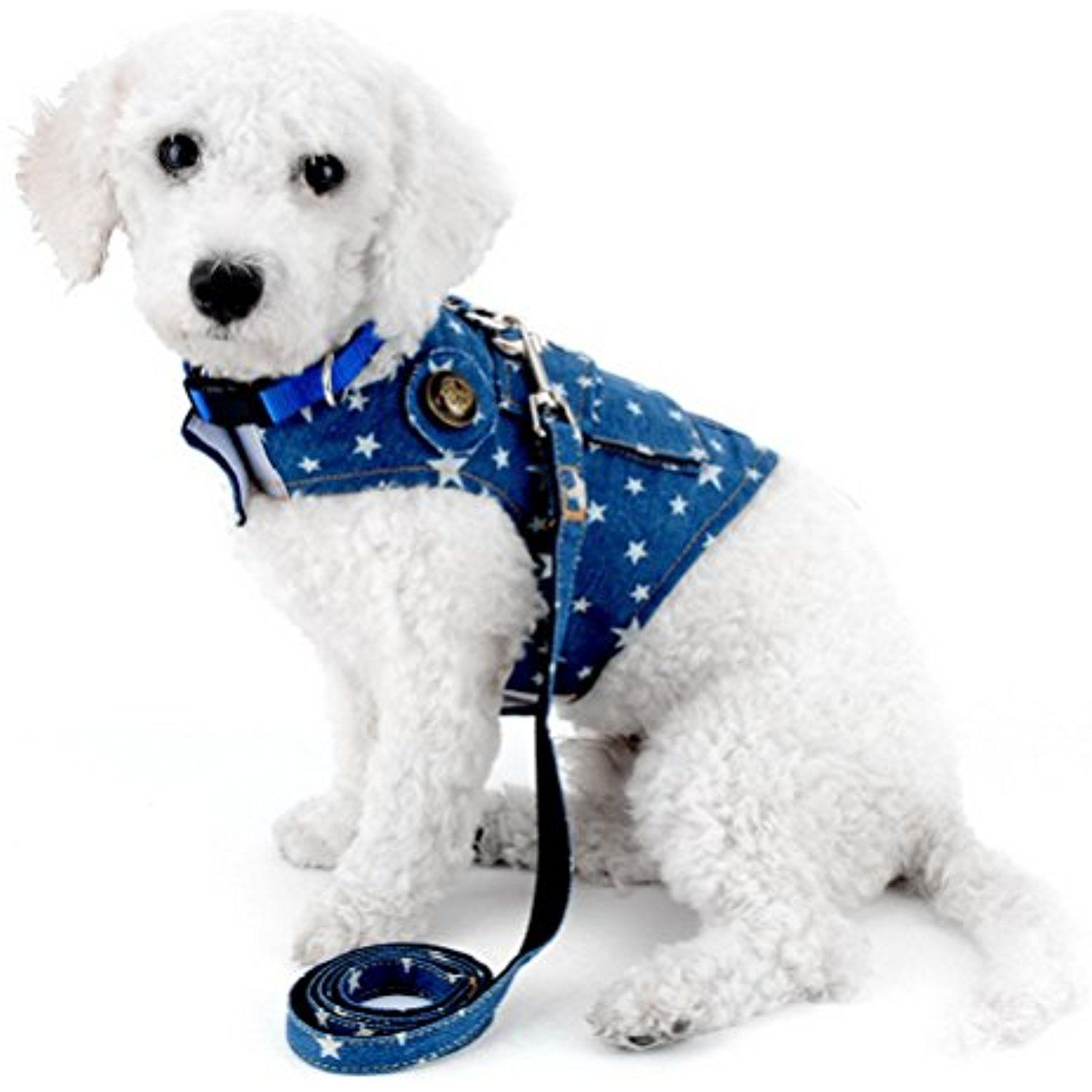 Zunea Denim Harness For Small Dogs Leash Set Adjustable D Ring