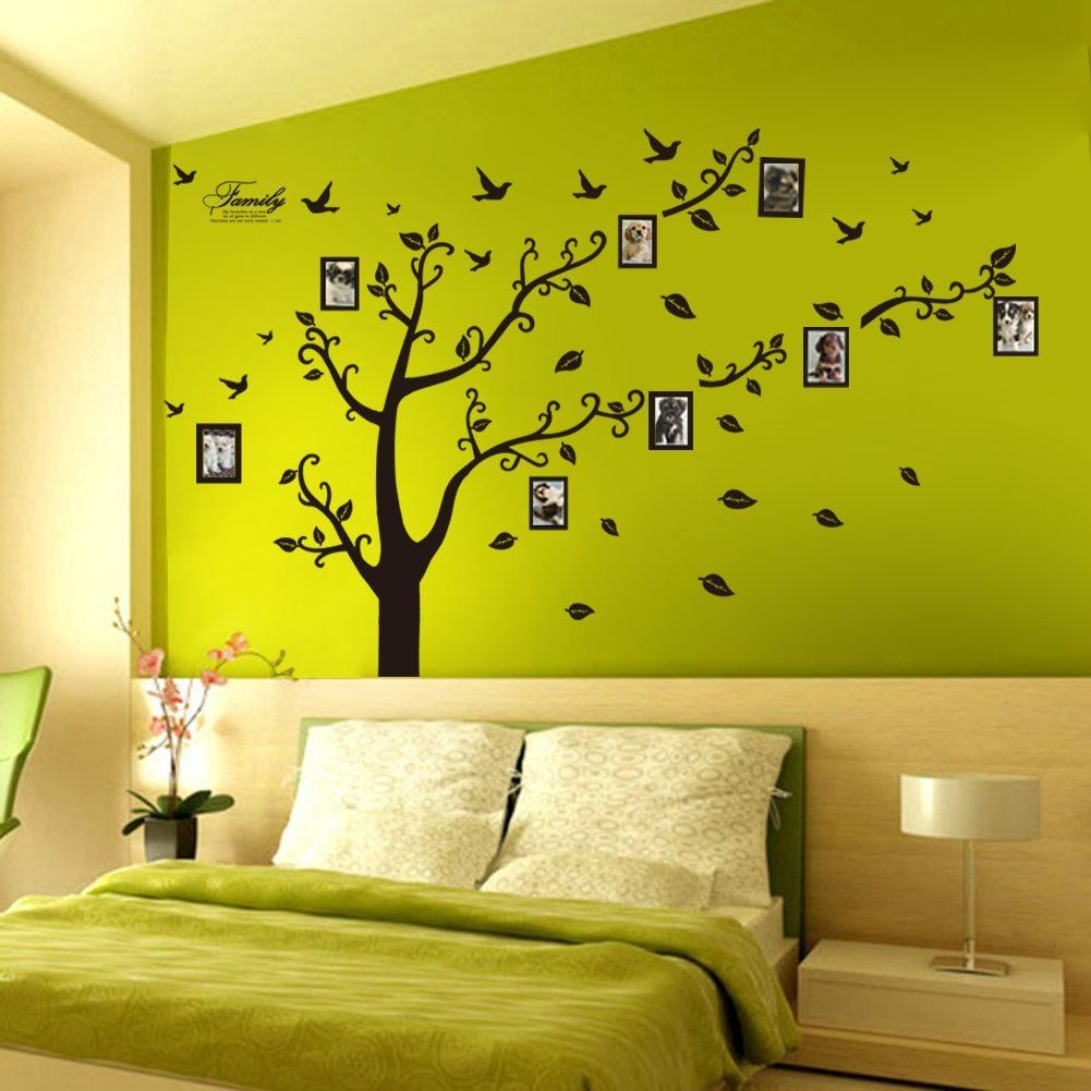 Wall Decor: Girl Black Flowers Butterflies Design Removable Wall ...