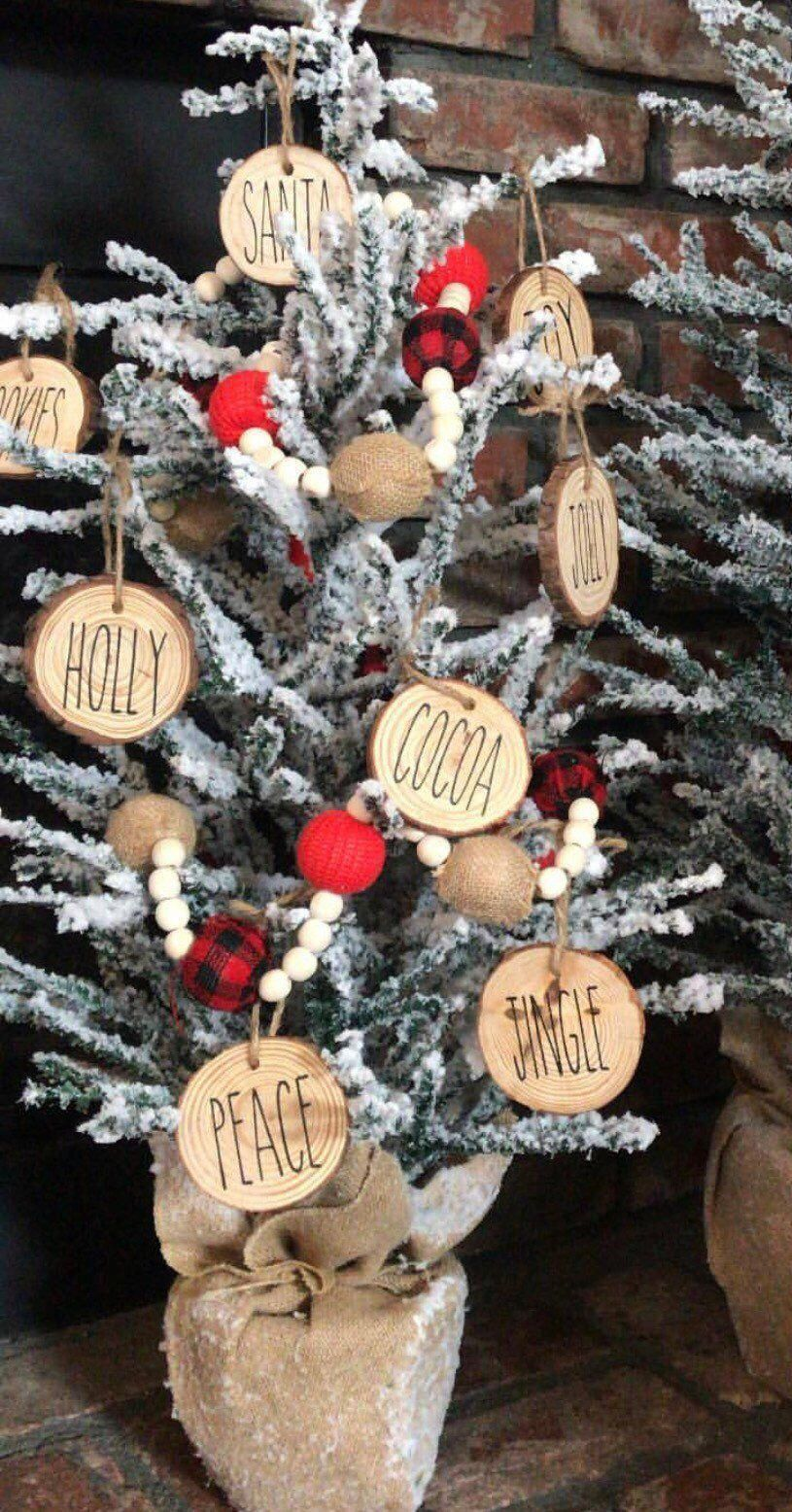 Rae dunn inspired christmas ornaments, gift, wood slice ornaments -   19 farmhouse christmas tree decorations diy ideas