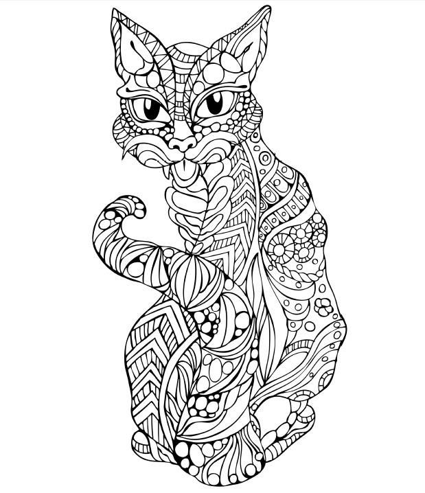 Cat zentangle coloring books pinterest chat coloriage and coloriage mandala - Chat a colorier ...