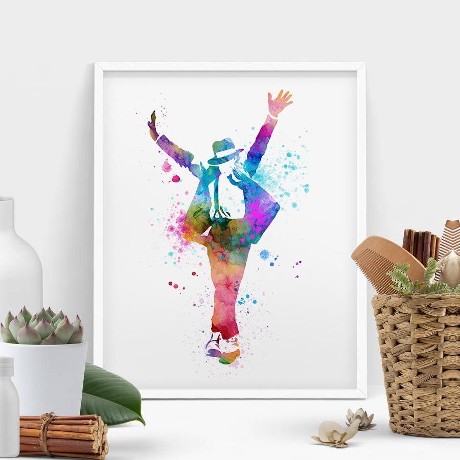 Michael Jackson Poster Watercolor Painting Art Wall Hanging