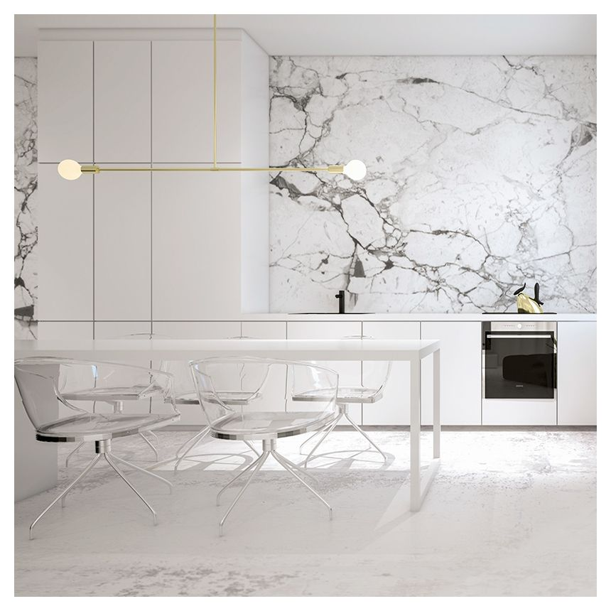 White Kitchen Marble white kitchen with marble walls and lucite chairs. get started on