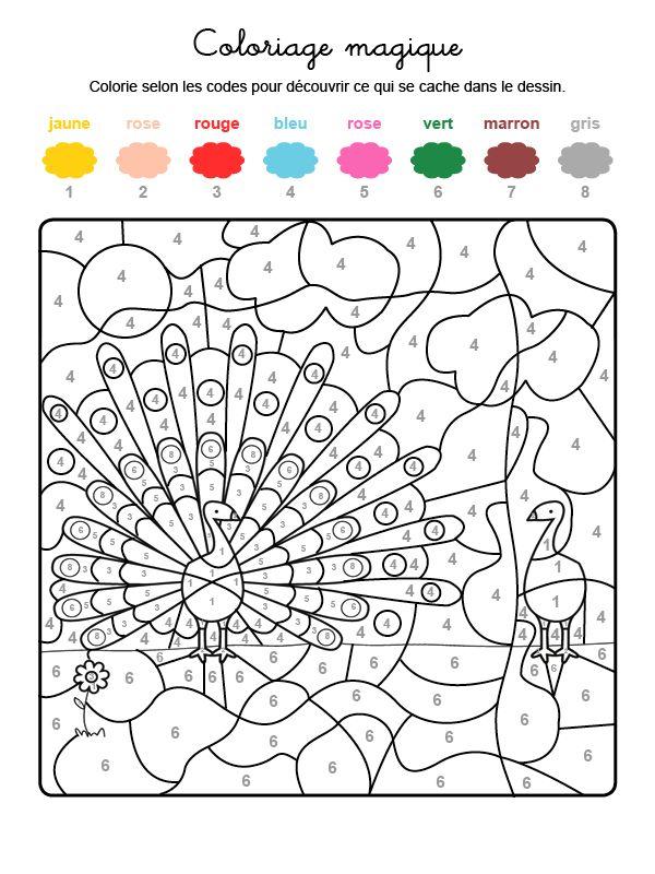 Dibujo mágico para colorear en francés de un pavo real | Preesco