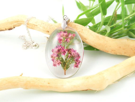 Real Flower Necklace- Pressed Flower Jewelry, Botanical Jewelry, Resin Jewelry, Heather resin necklace  This listing is for a lovely pendant of a