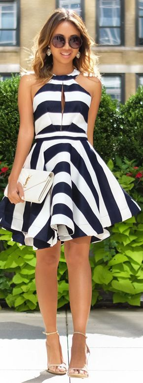 lace  locks black and white stripe fit and flare dress