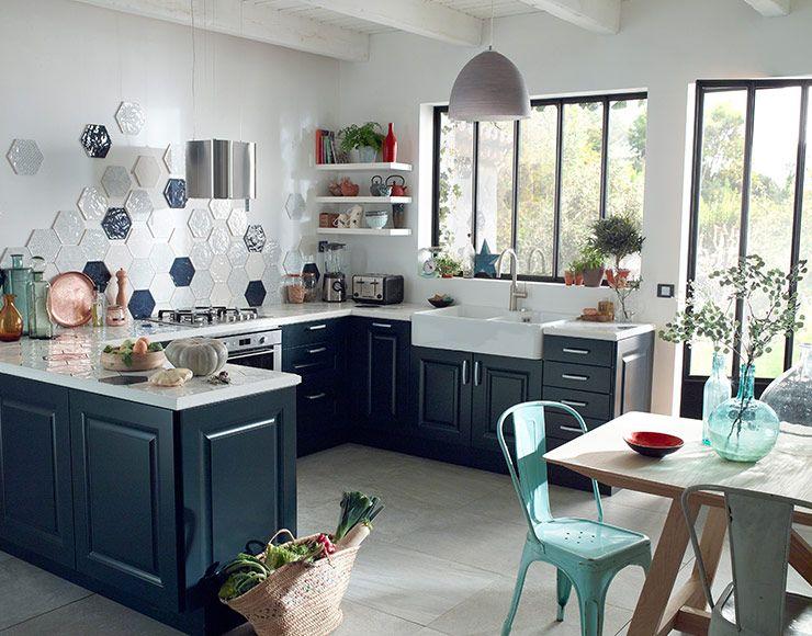 castorama cuisine candide bleu nuit une cuisine. Black Bedroom Furniture Sets. Home Design Ideas