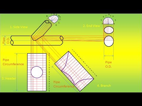 layout 45 degrees lateral template equal unequal tee equal pipingweldingndt youtube