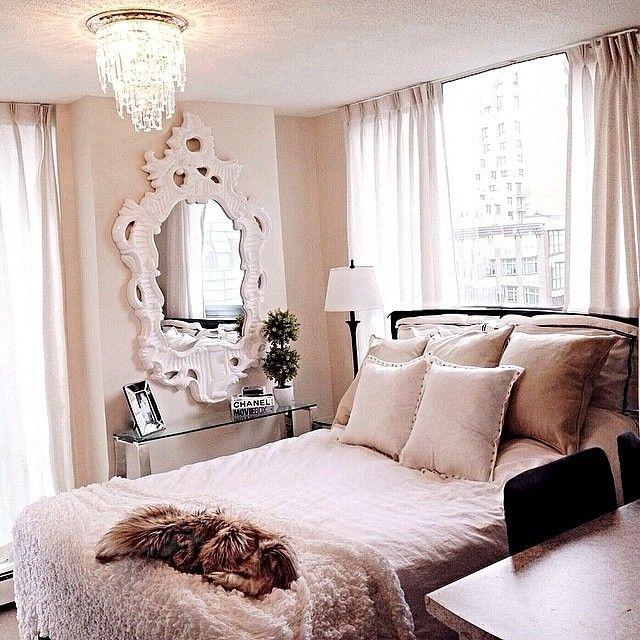 Natalie Halcro All White Baby Pink Soft Bedroom Decorating Room Ideas Chandelier Fur Throw Mirror