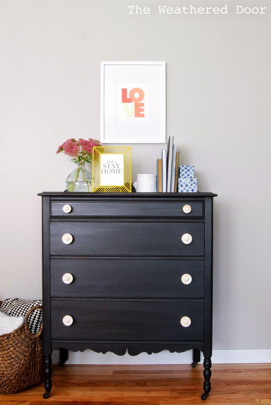 Furniture reveal pitch black milk paint dresser good ideas