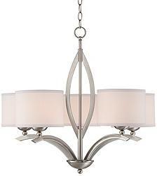 "Possini Euro Design Linen Shade 27 1/4""-W 5-Light Chandelier"