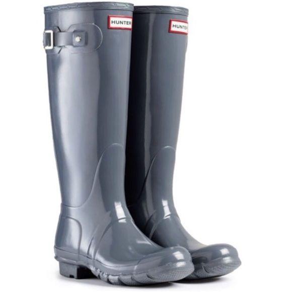 Slate Gray Hunter Boots Size 6. Original tall gloss. Authentic ...