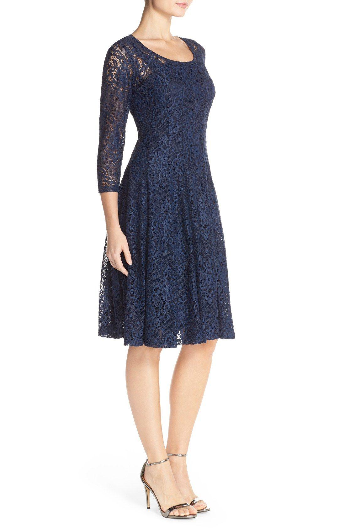 e67d7024 Chetta B Three Quarter Sleeve Lace Overlay Fit & Flare Dress   Navy ...