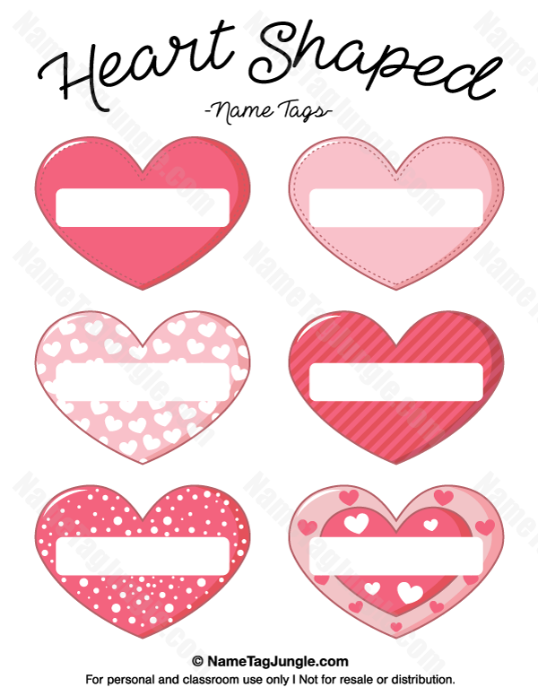 Free printable heart-shaped name tags. The template can also be ...