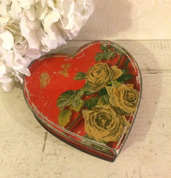 Romantic 1920s Heart Shaped Box Shabby Box Cottage by tinprincess