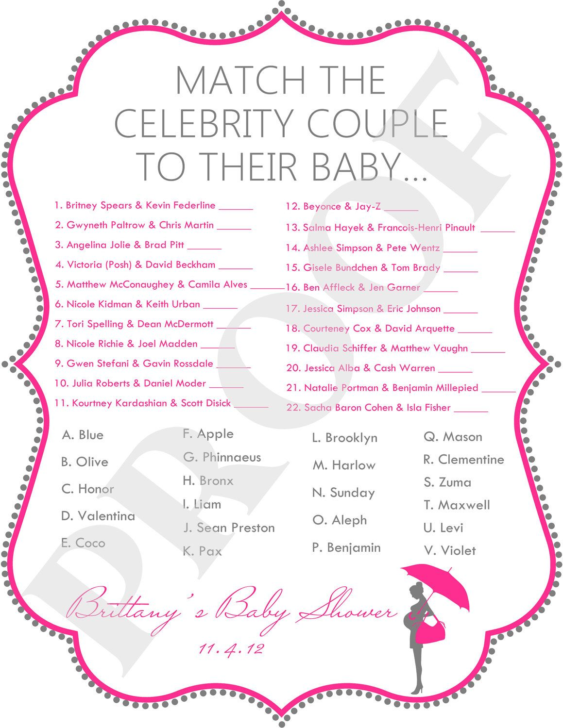 Celebrity Baby Shower Game File Pink Amp Gray
