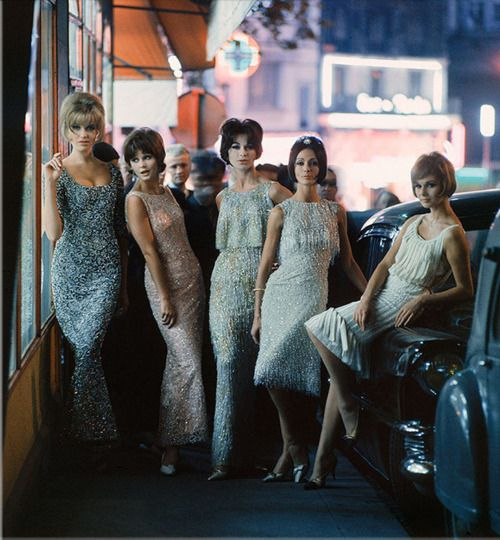 Models in Christian Dior dresses, Paris, 1961. Photo by Mark Shaw.