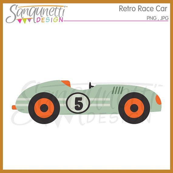 Retro Race Car Clipart Transportation Digital Art Instant Download Clip Art Racing Car