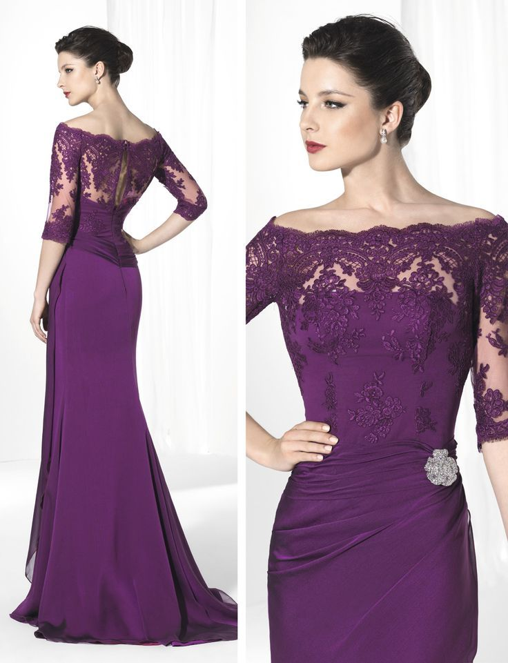2015 Purple Mother Of The Bride Dresses Scoop Neck 3/4long Sleeve ...
