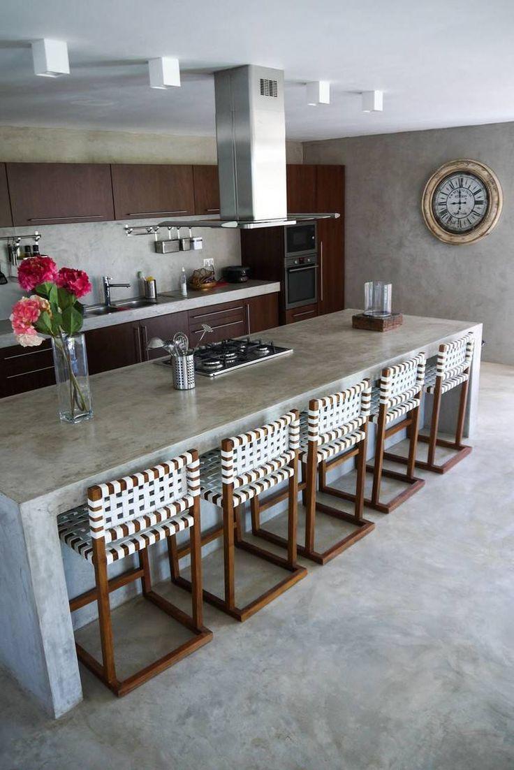 Moderne Kuche Mit Wande Kuchenboden Und Arbeitsplatten Aus Beton Kitchen Island Ideas Arbeitsplatten A Kitchen Trends Wood Countertops Kitchen Kitchen Interior