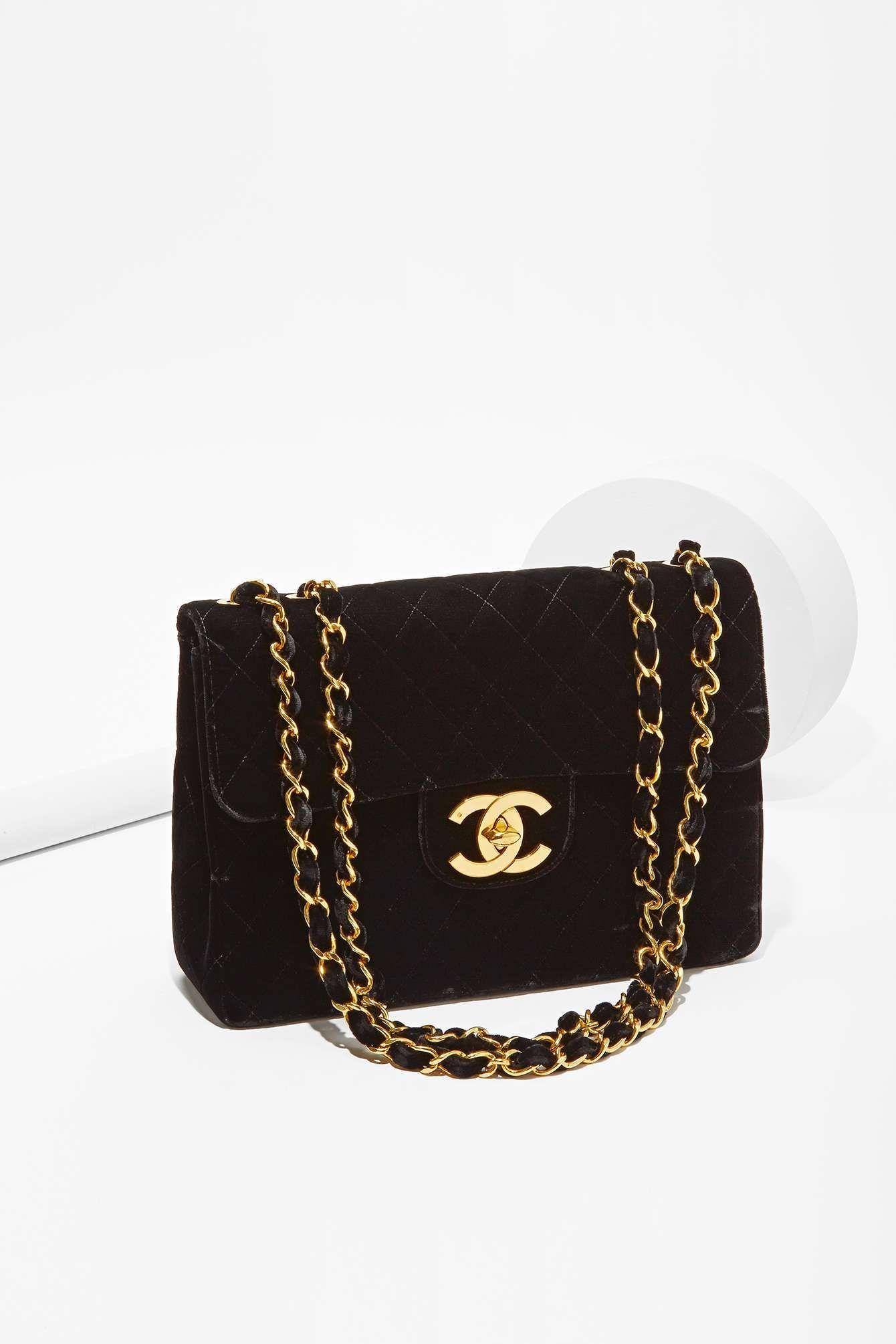 Vintage Chanel Velvet Jumbo Bag Chanel Pinterest