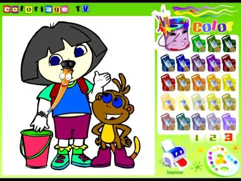 Dora The Explorer Coloring Pages Dora Coloring Book Free Games For Kids Youtube Free Games For Kids Coloring Books Free Games