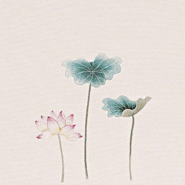 #야생화자수 #연꽃 #연잎 #꿈소 #꿈을짓는바느질공작소 #embroidery #lotus