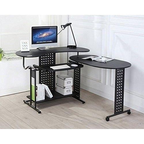 Black L Shaped Computer Desk. Black L Shaped Computer Desk Features [Unique  Design]   Unique Folding Design Helps You Saving More Space While  Maximising The ...